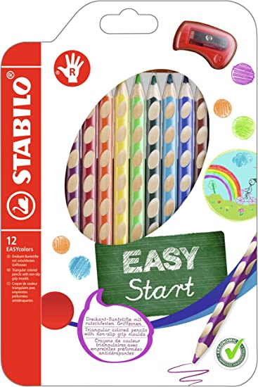 STABILO EASYcolor Ergonomischer Buntstift für Rechtshänder 12er Pack mit Spitzer