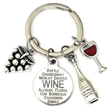 Amazon.com: Vino botella de vino de llavero, llavero ...