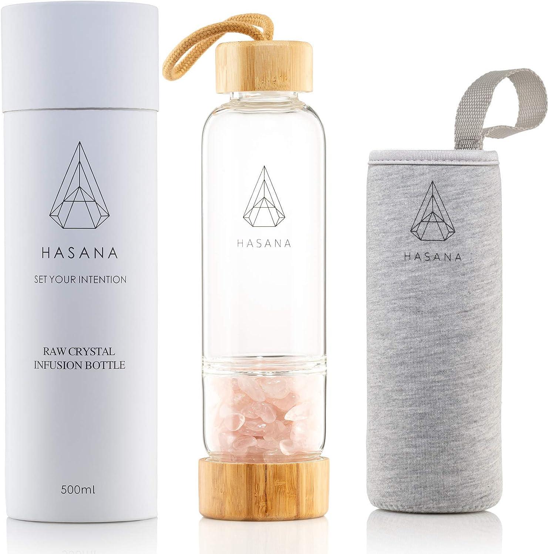 Rose Quartz Crystal Water Bottle for Making Healing Gemstone Infused Water Plus Travel Sleeve