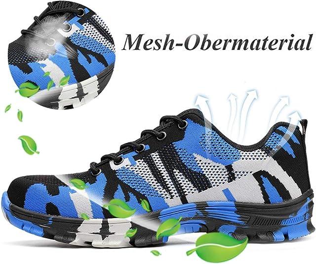SUADEX Mujer Hombre Zapatillas de Seguridad Punta de Acero Camuflaje Zapatos de Trabajo Entrenador Unisex Zapatillas de Senderismo con Cordones Ligeras: Amazon.es: Zapatos y complementos