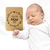 Baby Kraft Milestone Cards, Set of 26​ - N​ewborn First Year Progress Report Cards with Cute Sayings and Wreath Prints - Unique New Moms, Parents - for Girls, for Boys