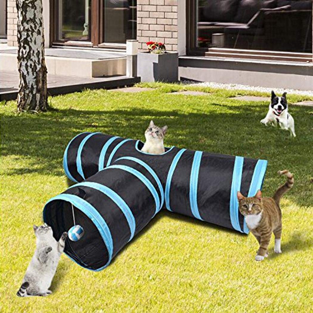 Fantiff Juguete plegable de tres t/úneles para gatos juguete interactivo para mascotas t/únel