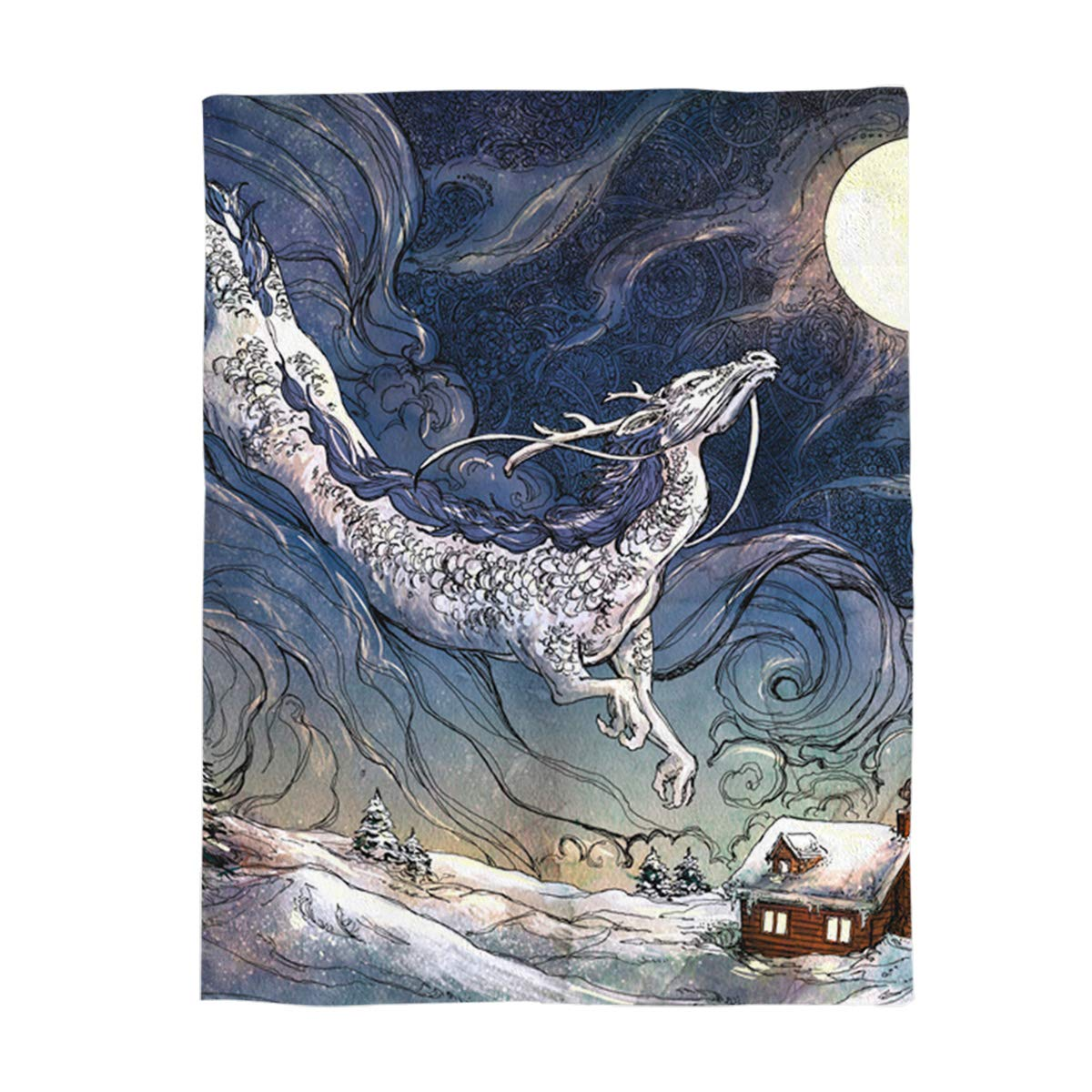 Dragon436lyag4291 49x79inch=125x200cm YEHO Art Gallery Flannel Fleece Bed Blanket Soft Throw-Blankets Home Decor,Retro Railroad Track Building Pattern,Lightweight Cozy Plush Blankets for Bedroom Living Room Sofa Couch,39 x 49 Inch