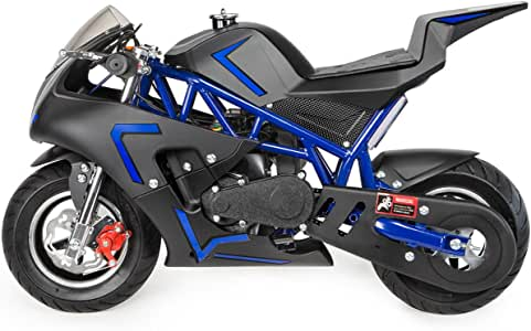 XtremepowerUS 40cc 4-Stroke Gas-Powered Mini Pocket Motorcycle Ride-on Seat EPA Approved (Blue)