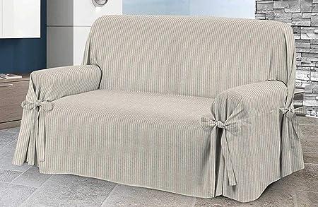 HomeLife – Cubre sillón – Elegante Protector de sofás a Rayas – Funda de sofá de algodón para Proteger del Polvo, Las Manchas y el Desgaste, Fabricado en Italia – Beige: Amazon.es: Hogar