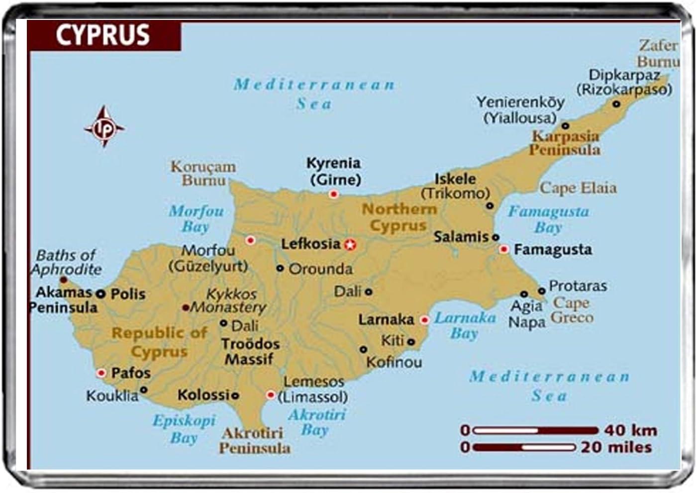 M053 MAP OF CYPRUS FRIDGE MAGNET CYPRUS TRAVEL REFRIGERATOR MAGNET