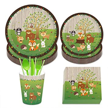 69 pcs Vajilla de Papel Diseño Animal Jungla Diseño Animal ...