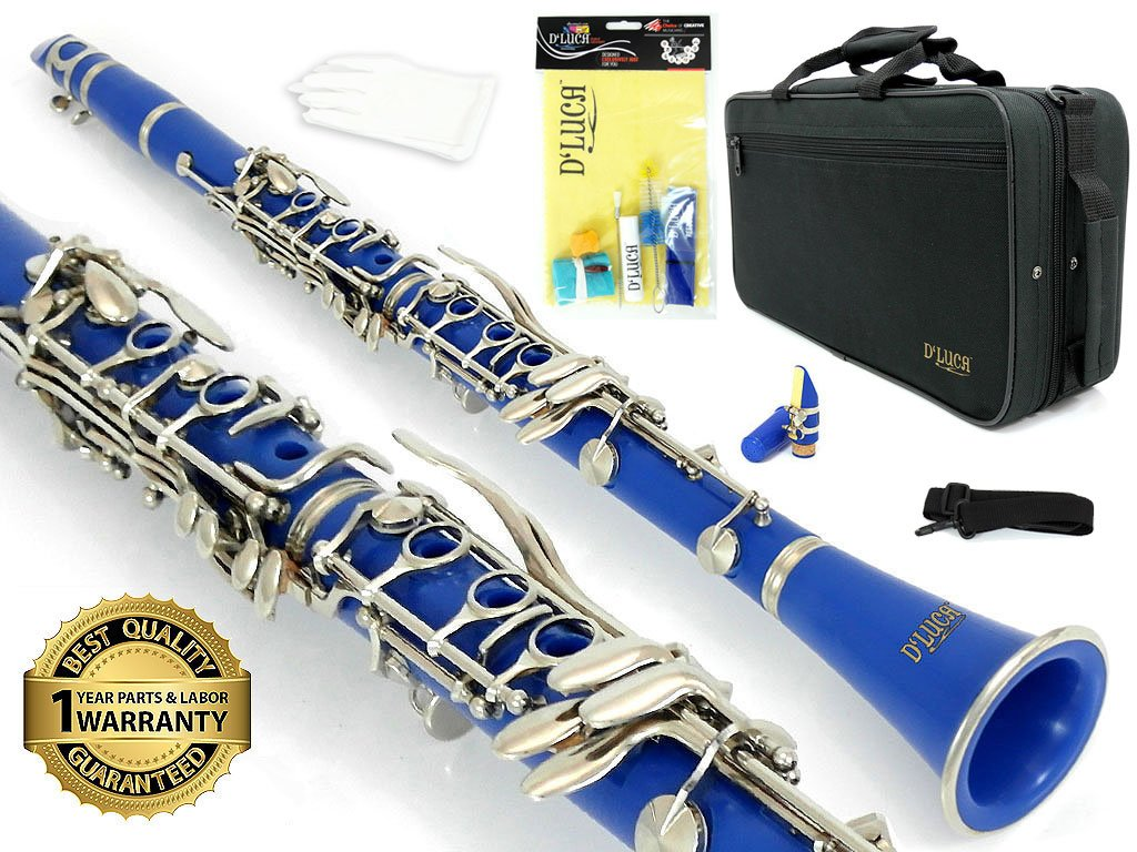 D'Luca 200BL 200 Series ABS 17 Keys Bb Clarinet with Double Barrel, Canvas Case, Cleaning Kit, Blue