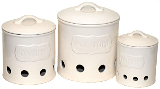 Amazoncom Ceramic Canister Set of 3 for Potatoes Onions and