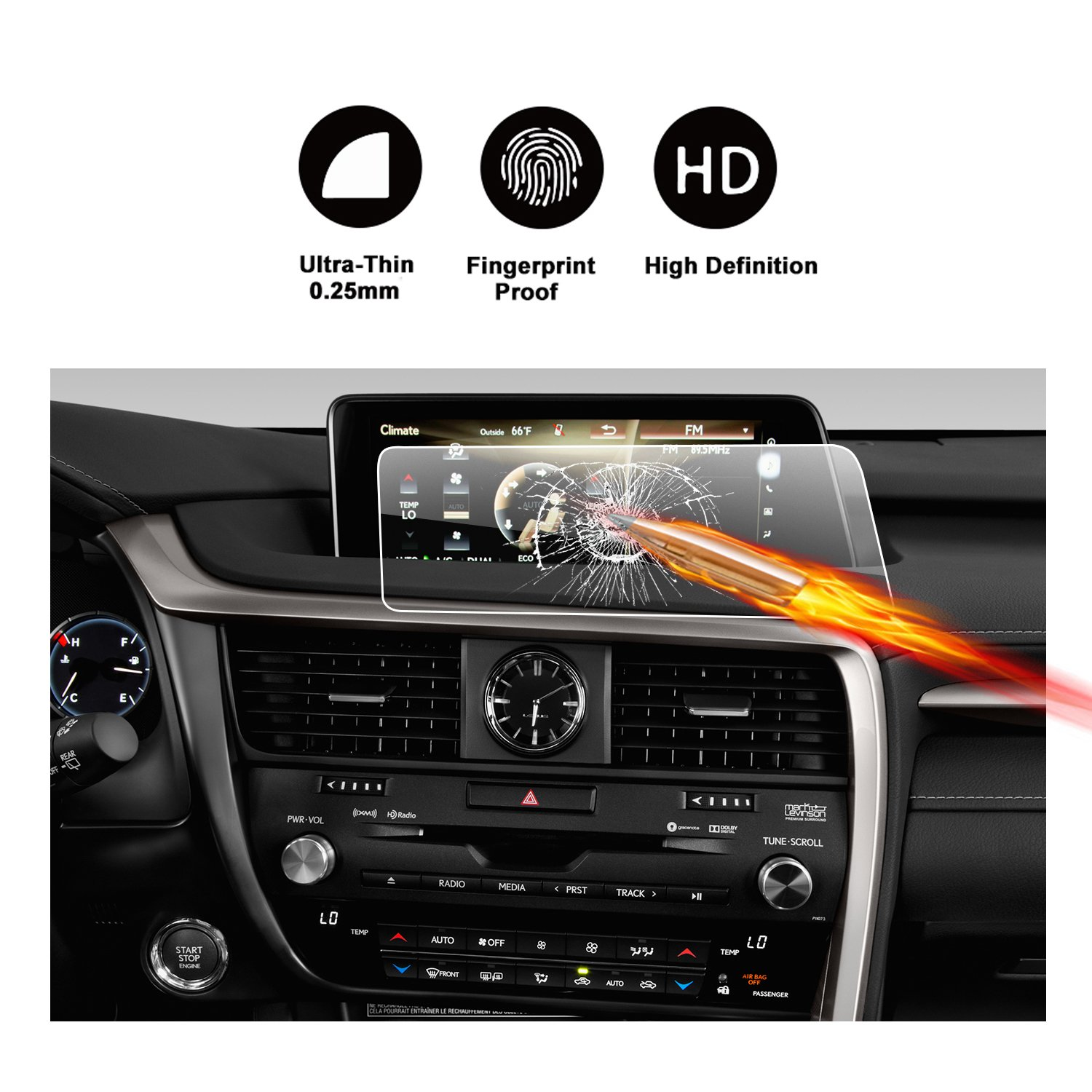 9H Tempered Glass Infotainment Center Touch Screen Protector Anti Scratch High Clarity LiFan US01CMKC08 LFOTPP Car Navigation Screen Protector Compatible for 2017 Cadenza UVO 8 Inch,