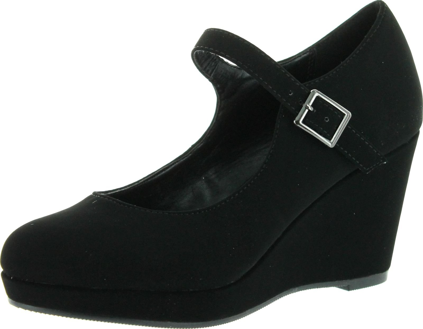 City Classified Womens Ontina Mary Jane Strap Comfortable Office Dress Platform Wedge Heel,Black,10