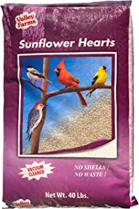 Valley Farms Sunflower Hearts Super Clean No Mess No Waste Bird Seed 40 LBS