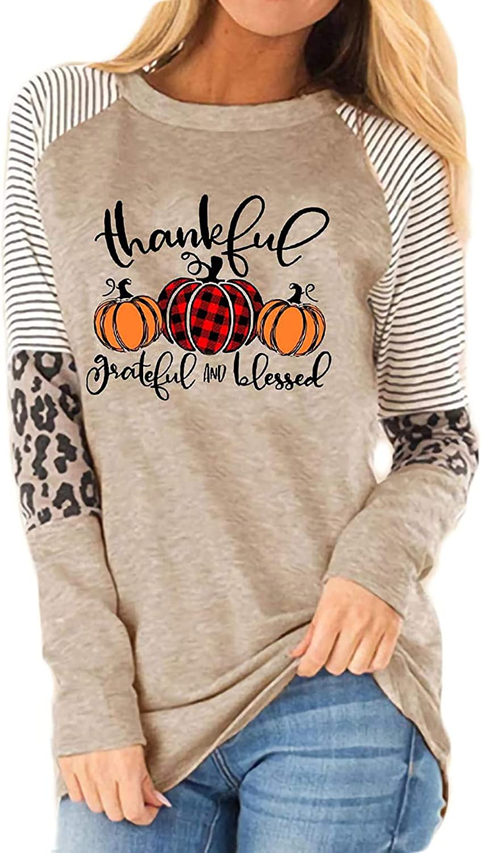 Thankful Grateful Blessed Print T Shirt Women Thanksgiving Pumpkin Long Sleeve Blouse Leopard Printed Striped Fall Tee Tops