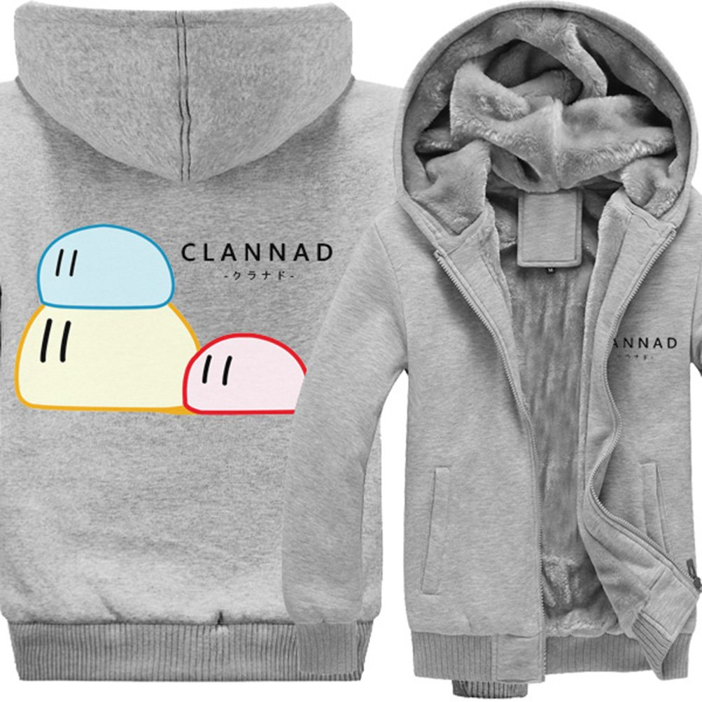 Rains Pan Anime Clannad Cosplay Fleece Thicken Zip Up Hooded Hoodie Jacket Coat