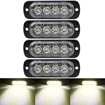 White KaiDengZhe 4x4 LED 4 in 1 Surface Mount Grill Light DC12V Wireless Remote Emergency Flashing Beacon Lamp Ambulance Police Light Strobe Warning External Light For Truck Trailer Caravan Van