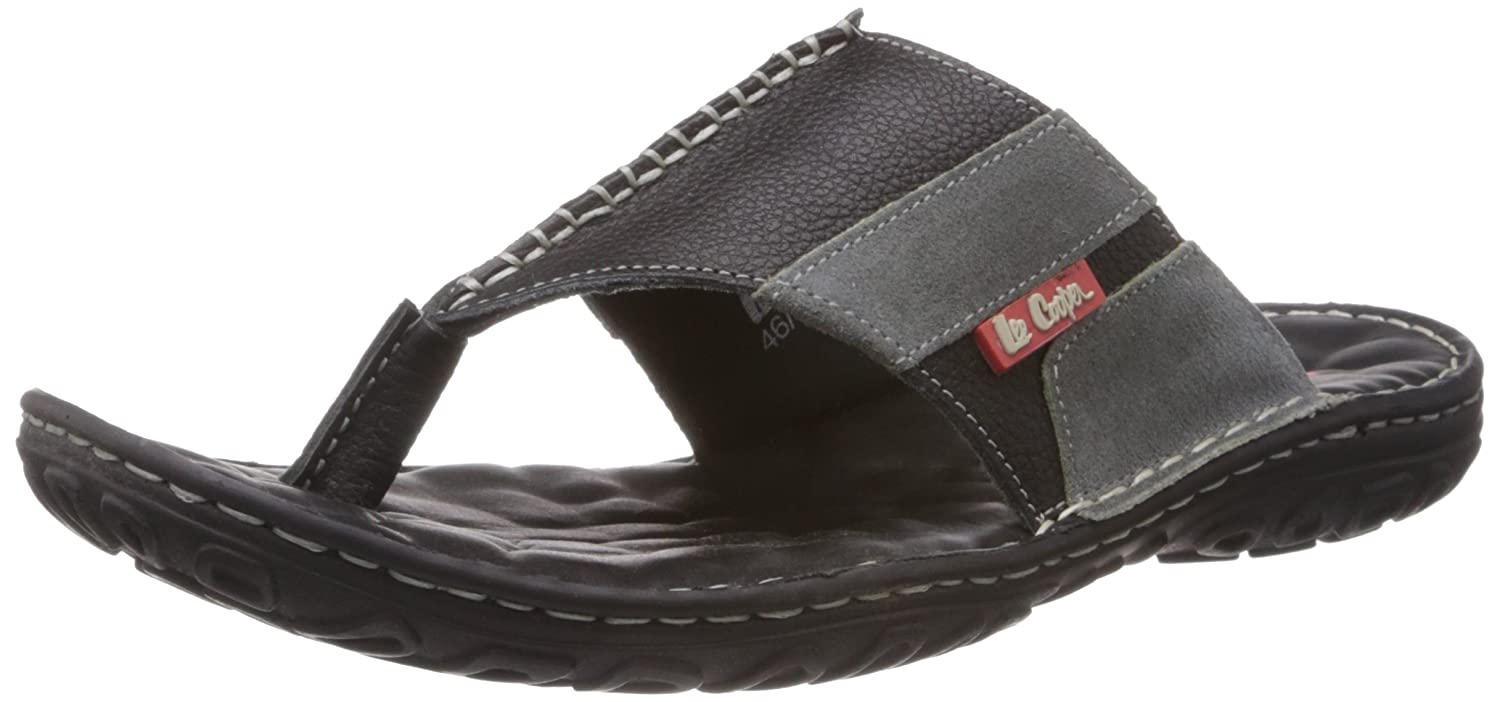 57b182f29b3 Lee Cooper Men s Black and Grey Leather Flip Flops Thong sandals - 8 UK  Buy  Online at Low Prices in India - Amazon.in