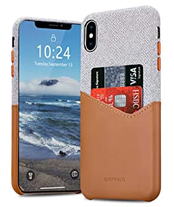 BIGPHILO Wallet Case for 6.1'' iPhone XR 2018, Mix Series Soft-Touch Fabric Protective Cover with Synthetic Leather Card Holder/Slot Compatible iPhone Xr - Gray/Brown