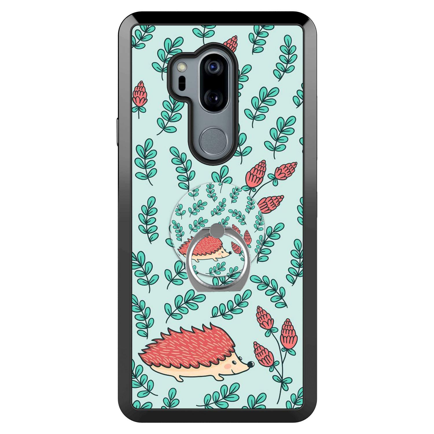 LG G7 ThinQ Case with Ring Holder Stand Multi-Function Cover with Rotating Ring Holder Stand Kickstand Hedgehog Pine Cone Case for LG G7 ThinQ