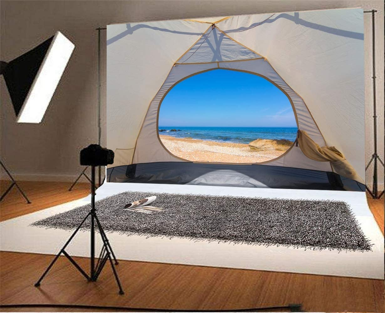 GoEoo 8x6.5ft Seaside Camping Scene Vinyl Photography Background Opened Tent Towards The Sea Scenic Backdrop Summer Holiday Scout Camp Holiday Maker Shoot Studio Props