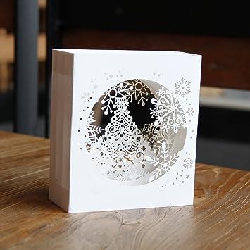 Seven Regalos corte láser 4 Capa sombra caja estilo blanco copo de nieve 3d Pop Up pantalla nota tarjeta de felicitación - con sobre de regalo invierno: ...