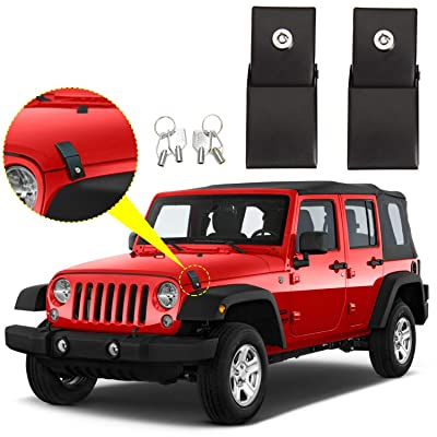 RT-TCZ Hood Latches Hood Lock Catch Latches Kit Anti-Theft Accessories for 2007-2020 Jeep Wrangler JK & Unlimited Sport Rubicon Sahara: Automotive