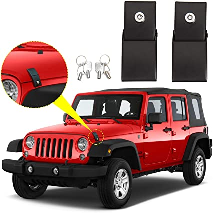 Routen Stainless Steel Hood Latches Hood Lock Catch Latches Kit for Jeep Wrangler JK 2007-2017