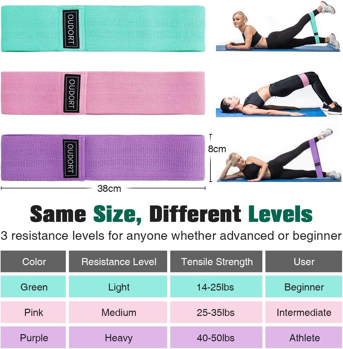 Gomas para Yoga Hombres y Mujeres ELVIRE SPORT Bandas El/ásticas 3 Pack: Bandas de Resistencia de Tela para Ejercicios de Gl/úteos y Caderas y Fitness Pilates Fisioterapia y Recuperaci/ón CrossFit
