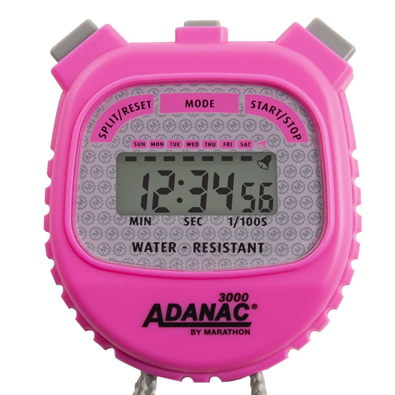 MARATHON Adanac 3000 Digital Stopwatch Timer, Water Resistant (Neon Pink, 1)