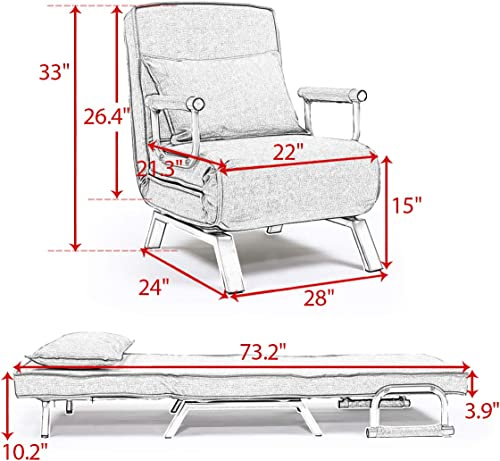 BWM.Co Convertible Single Folding Chair Lazy Sofa Leisure Recliner 5 Position Lounge Couch