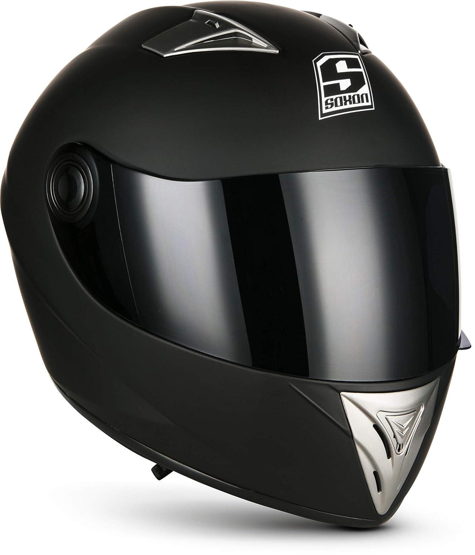 SOXON ST-550 Fighter · Urban Urbano Scooter Moto motocicleta Casco Integrale Sport Cruiser Fullface-Helmet · ECE certificado · incluyendo parasol · incluyendo bolsa de casco · Negro · XS (53-54cm) Soxon Helme - UK
