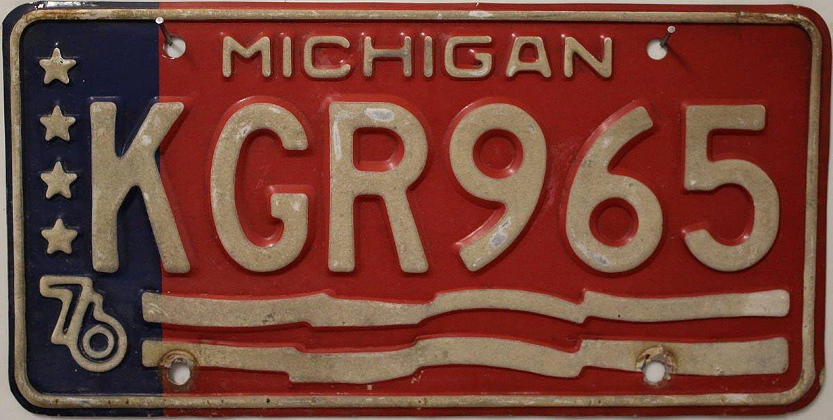 Nummernschild Usa Michigan 76 Kennzeichen Us License Plate Blechschild Mit Grafik Sterne Wellen Auto