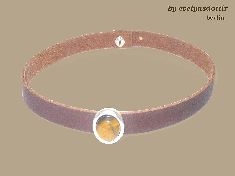 Braunes Leder - Choker - Halsband oder Armband mit echtem Tigerauge