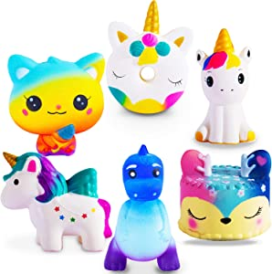 ZYZZYZY Jumbo Squishies Slow Rising 6 Pack Squishies Animal Newest Unicorn Squishy Toys Party Favors Goodies Bags Class Prize Cream Scented & Kawaii Squishys Stress Relief Toys for Adults Kids