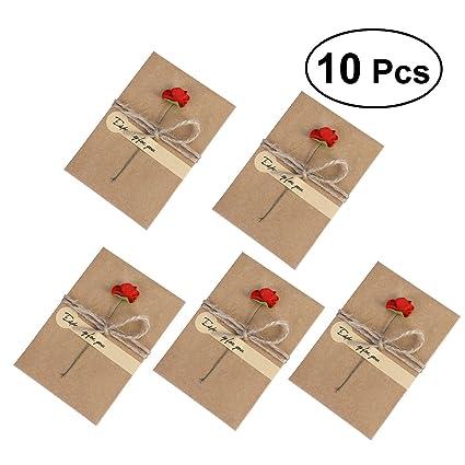 NUOLUX 10 paquete Tarjetas de felicitación de la vendimia Tarjeta de Kraft secada a mano de la flor Tarjetas de agradecimiento para las tarjetas de ...