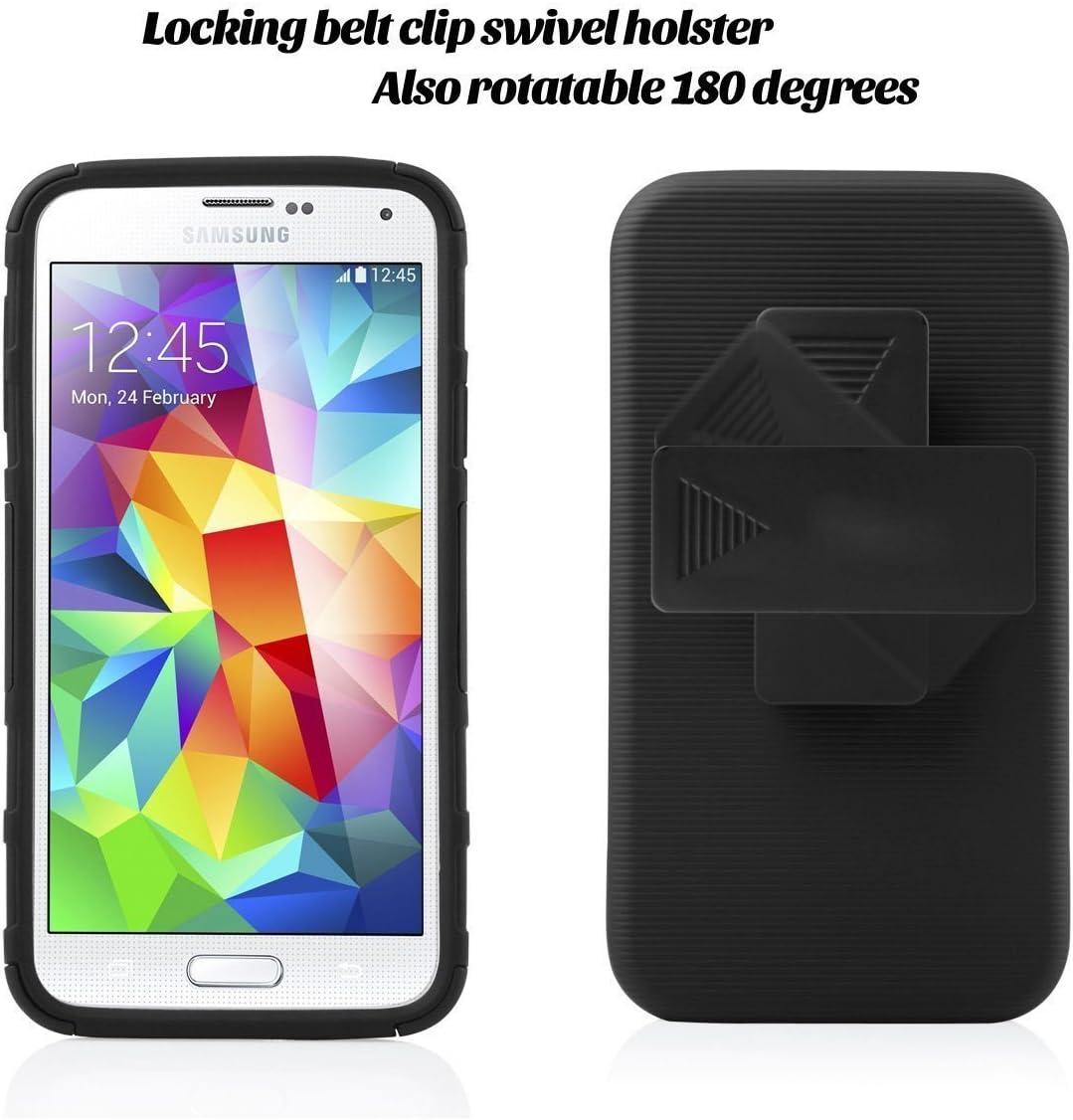 J.west Coque pour Samsung Galaxy S5 Neo résistante aux chocs en caoutchouc et plastique hybride avec béquille robuste et résistante aux chutes clip ...