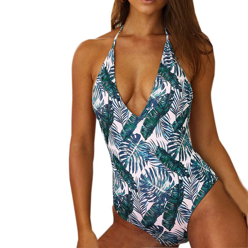 Gooldu Women Push Up High Cut Low Back V Neck Floral Print Bandage Vintage One Piece Swimsuit Bathing Suit Monokini
