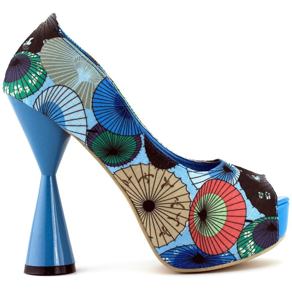 SHOW STORY Glam Blue Open Toe Cone Heel Platform Pumps,LF40804BU41,10US,Blue