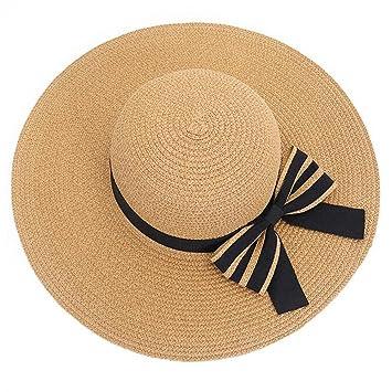 YXINY Viseras Sombrero del Sol De Las Mujeres Sombrero Plegable De La Playa  Sombrero De Paja del Verano De Joker Protección Solar Anti Viaje UV (Color  ... ca3994b1826