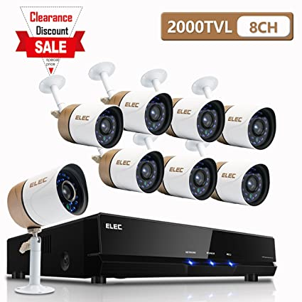 ELEC Kit de 8 Cámaras de Vigilancia Seguridad,CCTV DVR P2P 8CH AHD 1080P Lite