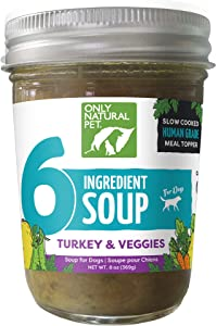 Only Natural Pet Human Grade 6 Ingredient Soup, Grain Free Flavor Food Topper Snack, or Nutrient Boost for Dogs, (Case of 6-8 oz Jars)