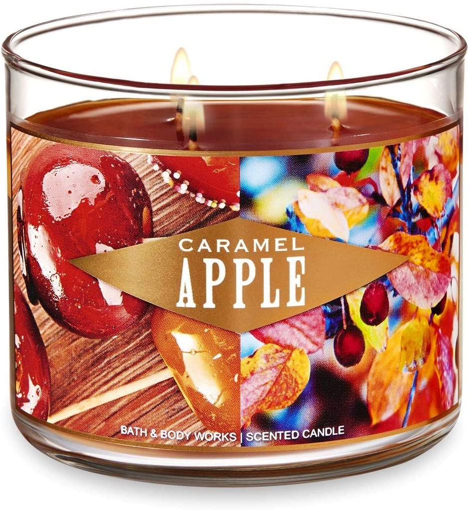 Bath and Body Works Caramel Apple Candle - Large 14.5 Ounce 3-wick Limited Edition Fall Candles