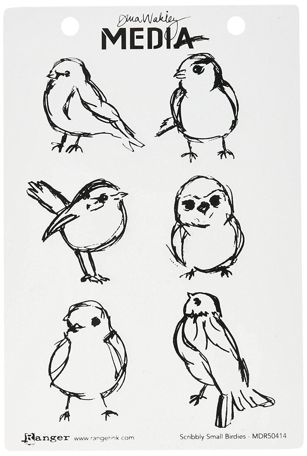 Ranger Dina Wakley Media Unmounted Rubber Stamps Scribbly Small Birdies (3 Pack)