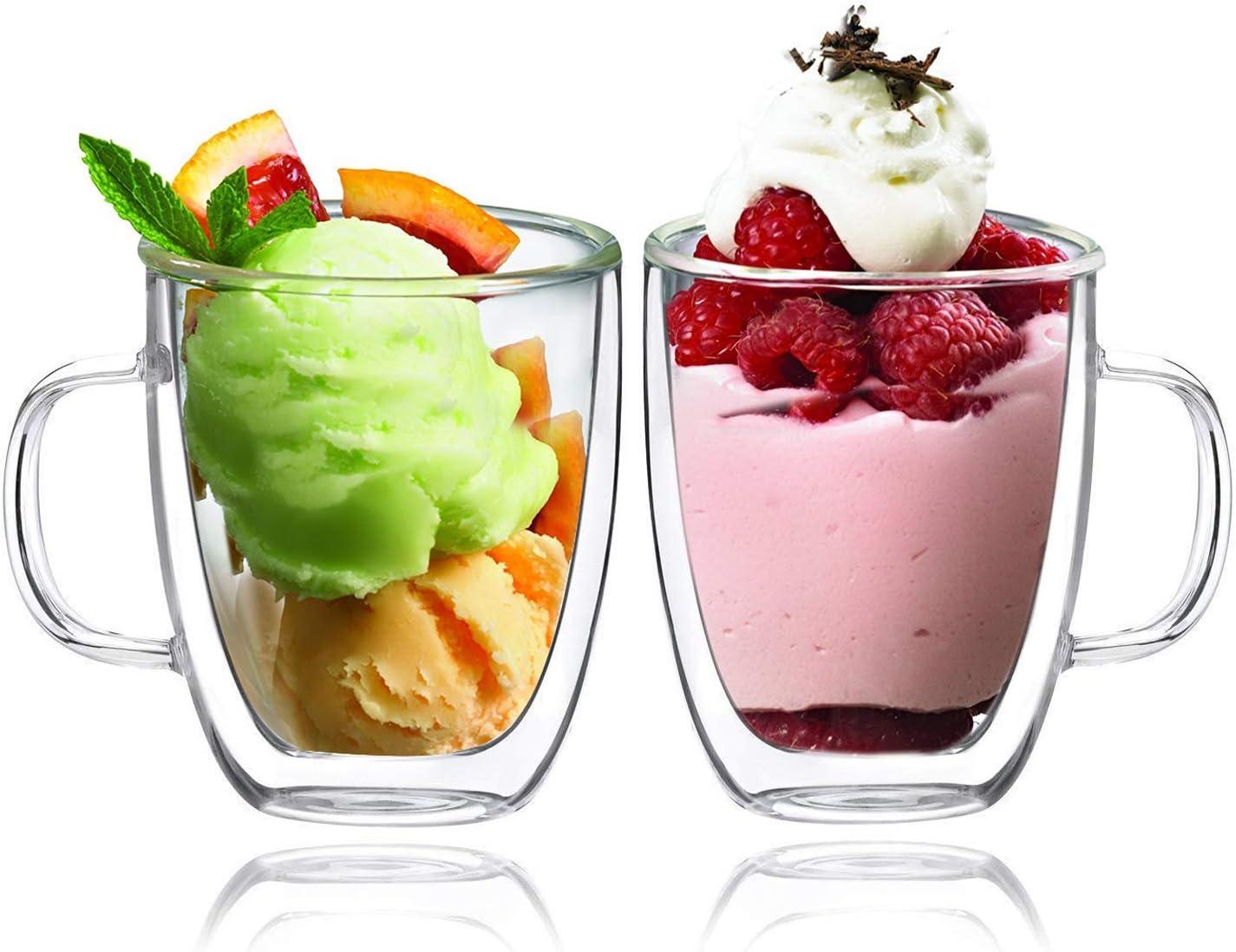 BOQO Tazas de Vidrio Doble Pared, Taza de Cristal con Mango,350ml Juego de 2
