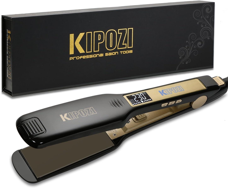 KIPOZI Plancha de Pelo Profesional, placa ancha de titanio con pantalla digital LCD, adecuada para todo tipo de cabello, doble voltaje (negro)