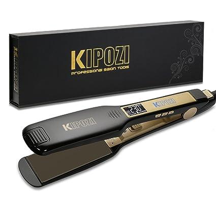 uk availability f5fc8 b328d KIPOZI Piastra Capelli Professionale Larga Digitale con Display LCD Doppia  Tensione Piastra Per Capelli,Piastra Keratina (Nero)