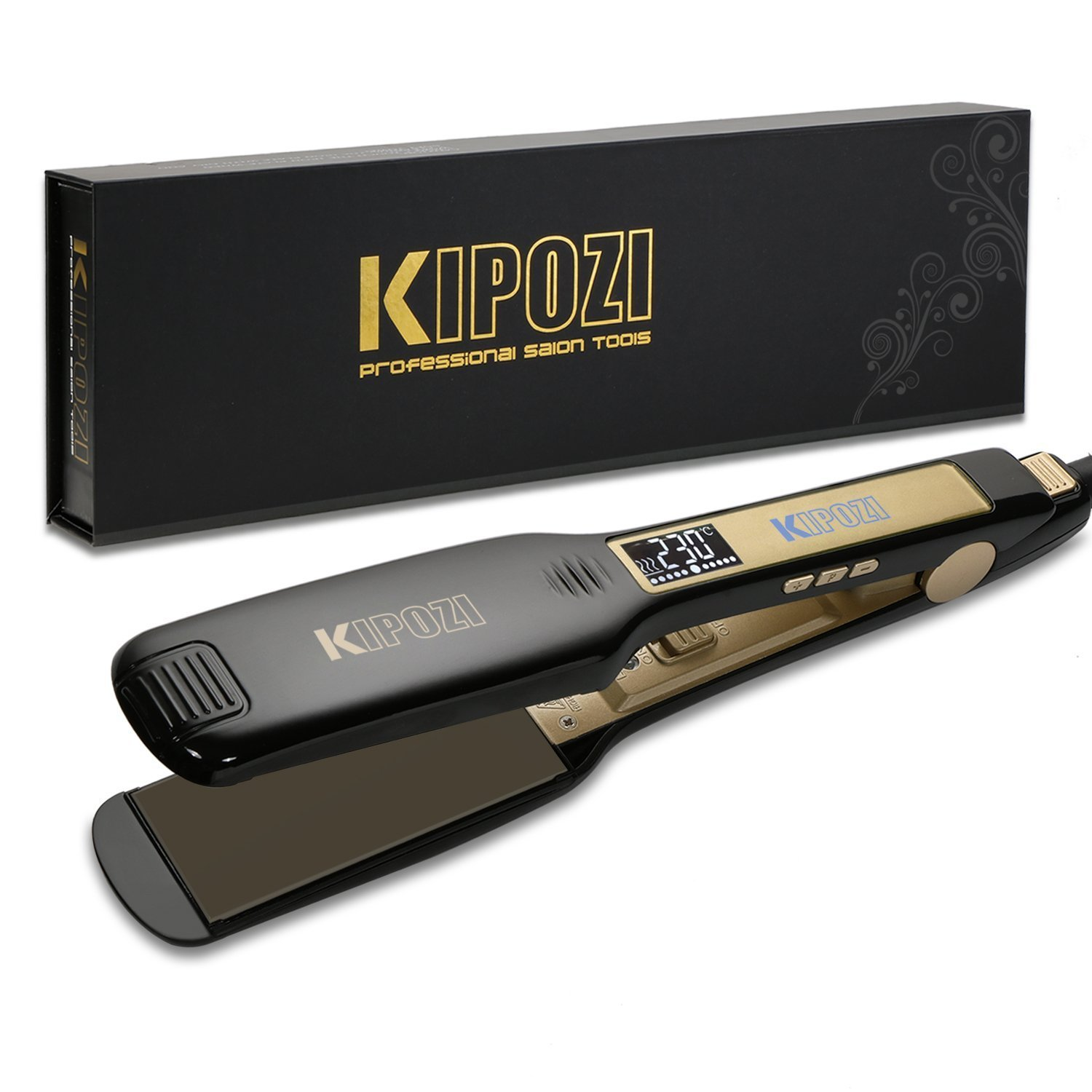 KIPOZI Professional Hair Straighteners UK Wide Plates with Digital LCD Display Dual Voltage Salon Fast Hair Styler,Black product image