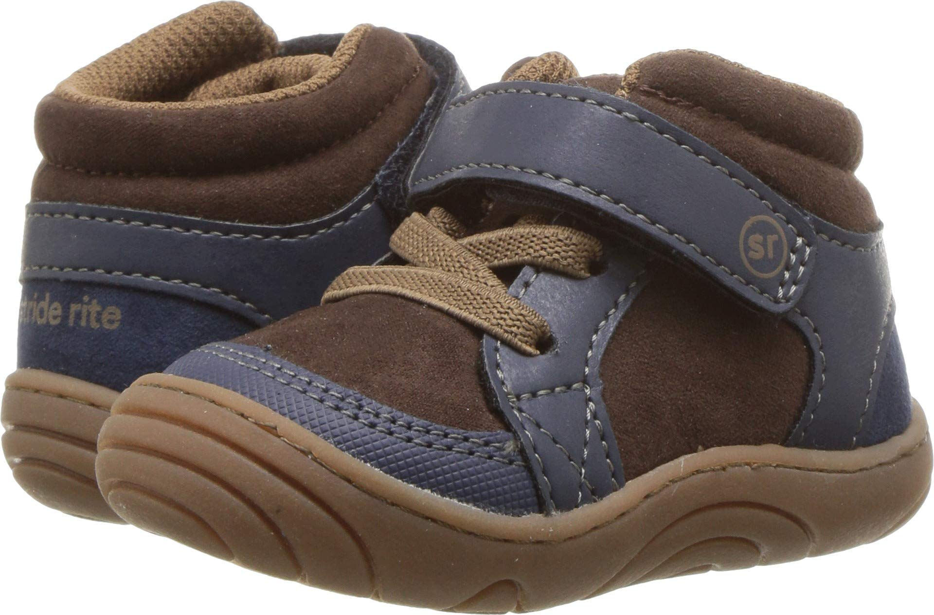 Stride Rite Boys' SR-Ethan High Top Sneaker, Navy/Brown, 6 M US Toddler