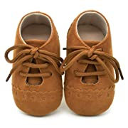 Voberry Baby Girl Boys Lace up Sneakers Soft Soled Anti-Slip Toddler Shoes (0~6 Month, Brown)