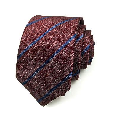 XXSZKAA-tie Hombres clásico rayas rojas tejidas microfibra corbata ...