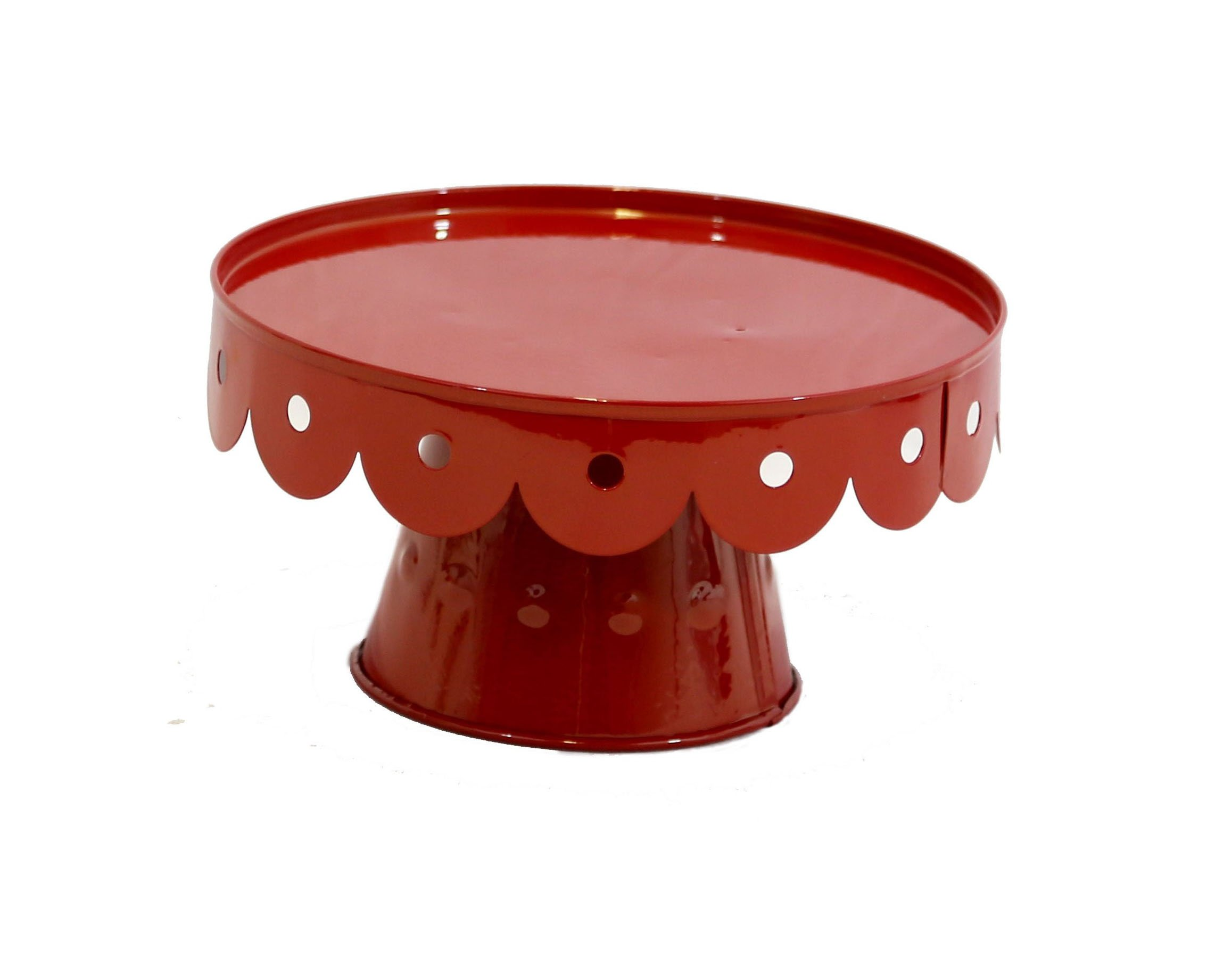 Medium Red Scalloped Cake Stand